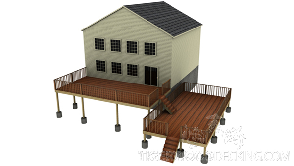 This design can also utilize a sloping terrain, provide a nice transition to different levels of your home, and have designated spaces for different activities.