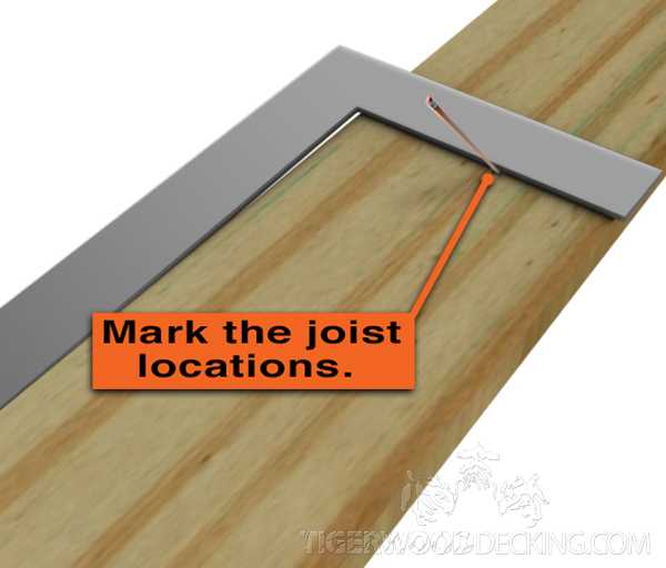 Make marks on the ledger where the joists will be situated.