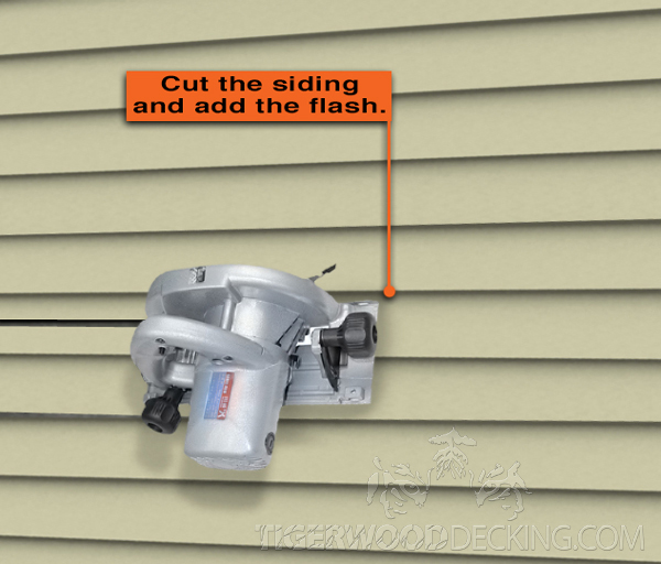 After cutting the siding with a circular saw, install the flashing.