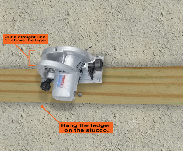 Cut a groove and insert the flashing for your ledger on stucco installation.