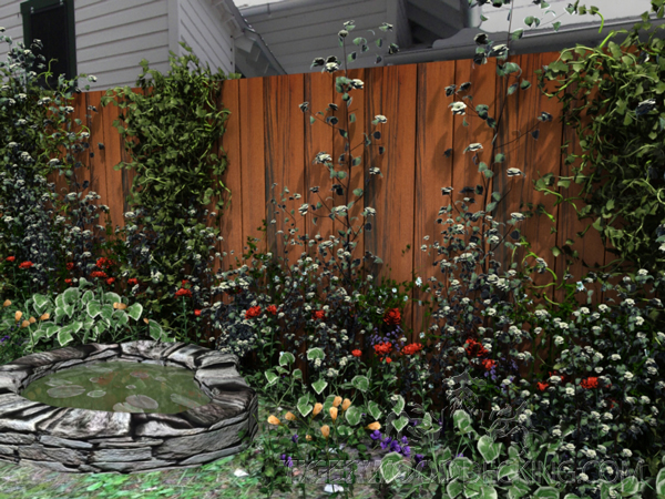 Adding vines and plant life to an plain fence ties your backyard together, and can create a focal point.