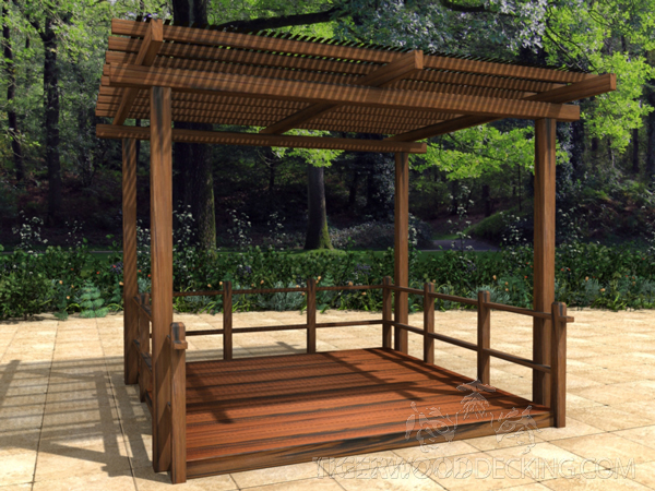 A pergola is a great solution for an overhead structure if you desire a cool shaded area that does not completely block the sunlight.