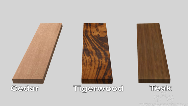Tigerwood looks amazing and will last longer than cedar and teak.