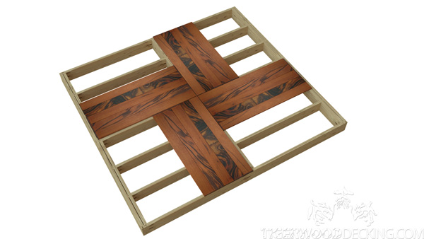 This pattern is a great way to achieve a deck tile look, but on a joist system.
