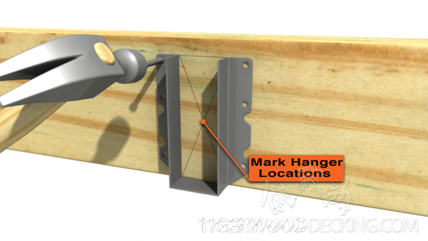 Marking the hanger locations makes the joist installation process go a little smoother.