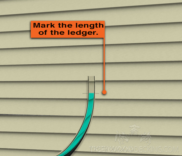Use a water level to ensure the ledger length is level.