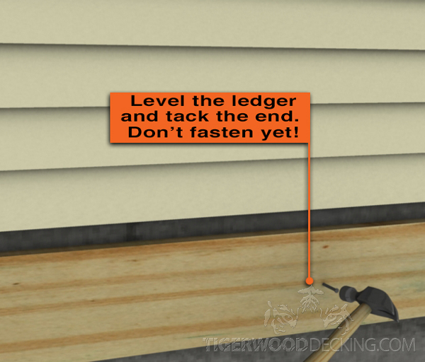 Use a nail as a temporary place holder to check the ledger to see if it's leveled.