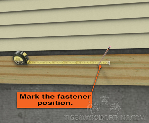 Begin marking the positions for the fasteners.