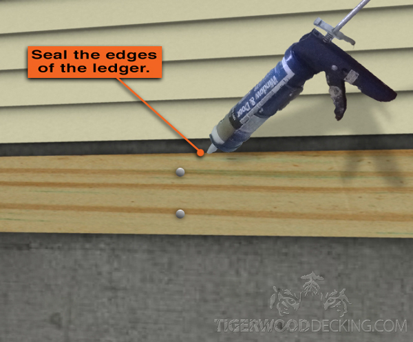 After installation, it's important to seal the ledger and the flashing to help prevent water damage.