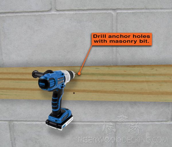 Using a masonry bit, drill the remaining part of the fastener hole, straight through to the masonry.