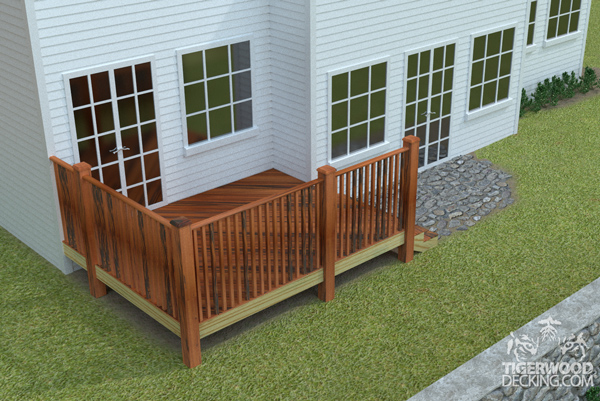 You could build a small deck off of the corner of your home.