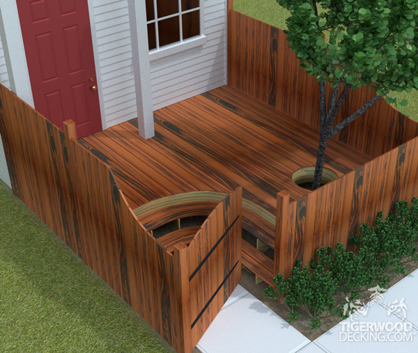 Maximize the outdoor space on a small lot by building a deck that's the same width as the lot.