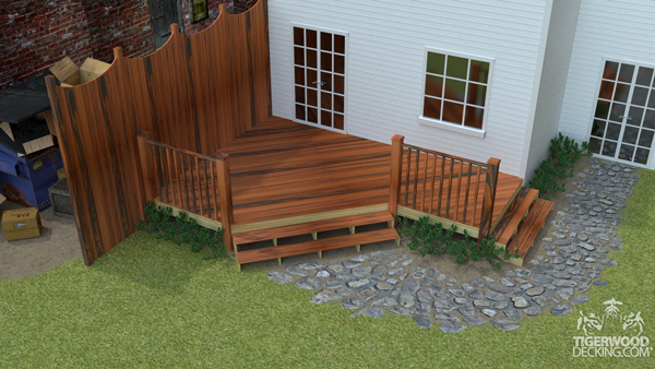 Your neighbor's storage pile wont keep you from enjoying your outdoor area any longer. A privacy fence in the same material as your deck will hide the mess and look fantastic.